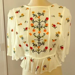 ~Embroidered Boho Blouse~
